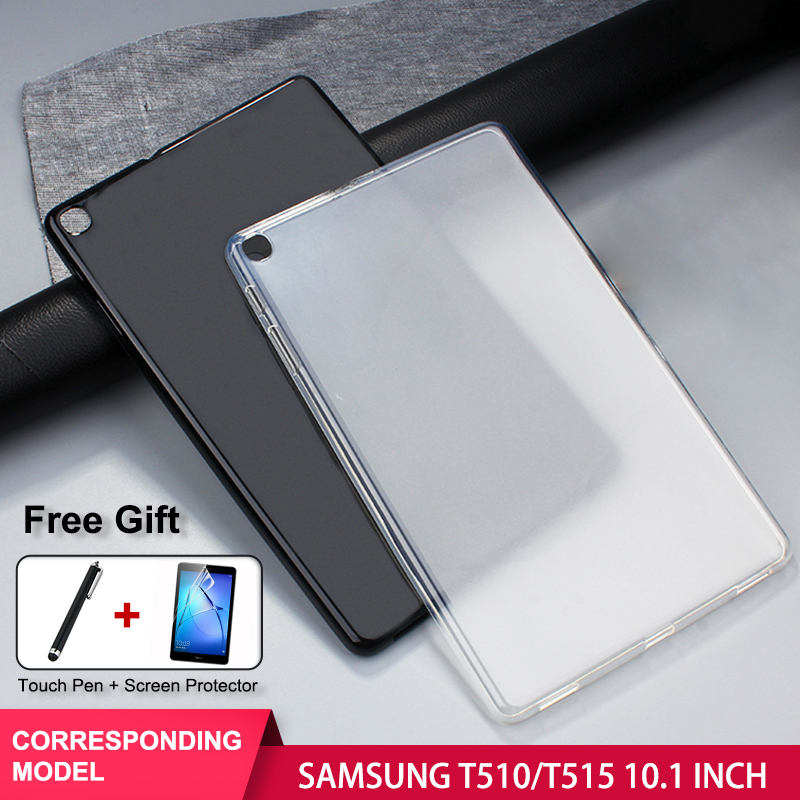 SZOXBY For <font><b>SAMSUNG</b></font> Galaxy Tab A 10.1 Inch <font><b>T510</b></font> T515 TPU Tablet Shell Anti-Fall Shockproof Washable <font><b>Case</b></font> Cover + Clear Film + Pen image