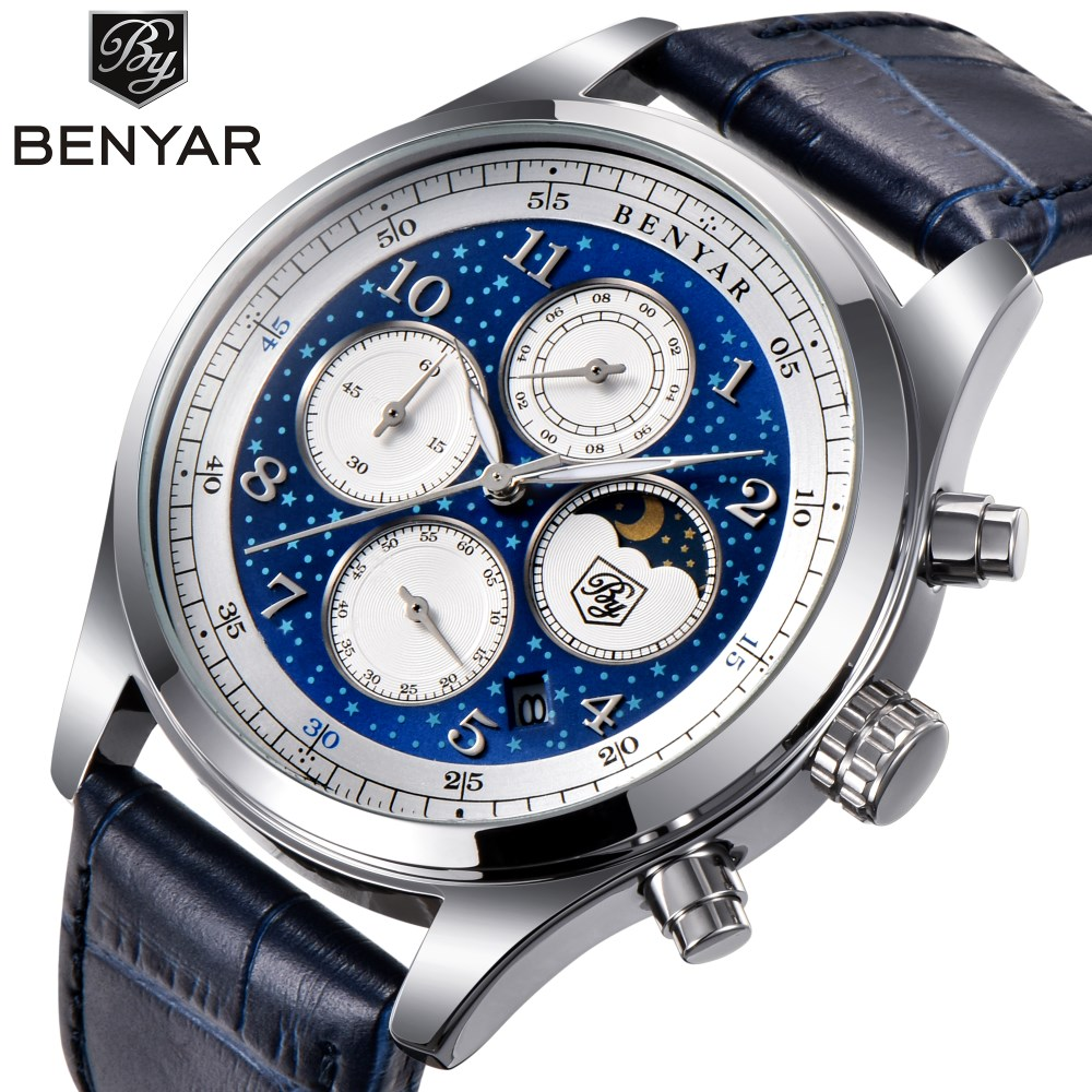 BENYAR Luxury Brand Watches Men Waterproof Chronograph Military Sport Business Quartz Wrist Watch Male Clock Relogio Masculino jedir brand luxury watch men army military leather watches male sport waterproof watches business chronograph quartz wristwatch