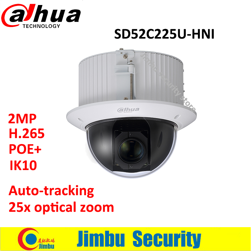 Dahua PTZ CMOS camera 25x optical zoom 2MP focal lens 4.8mm~120mm SD52C225U-HNI 2MP H.265 PoE+ IP66 Auto-tracking IK10 dahua 4mp ptz camera sd59430u hni h 265 30x optical zoom 4 5mm 135mm lens auto tracking and ivs support poe ir100m ip66 wdr