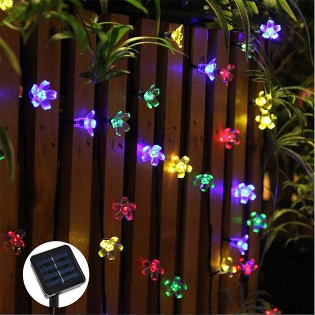 50 LEDs 7M Peach Sakura Flower Solar Lamp Power LED String Fairy Lights Solar Garlands Garden Christmas Decor For Outdoor