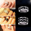 Fashion White Black Ceramic Titanium steel Delicate design couples ring The tail ring