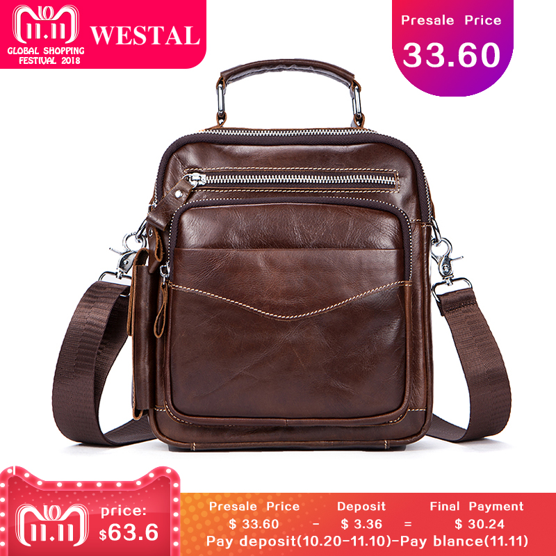 WESTAL Messenger Bag Men Shoulder bag Genuine Leather Small male Messenger Leather bags Handbags Crossbody bags for men 389 сковорода vitesse vs 2283