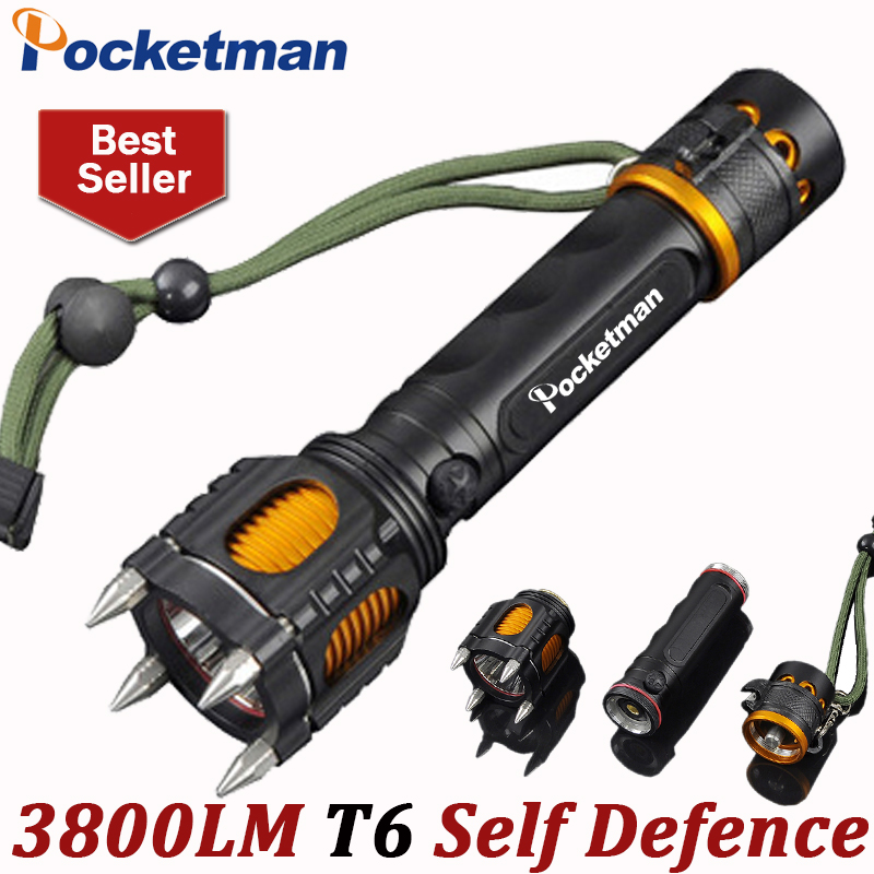 LED Flashlight 3800LM LED Torch CREE T6 Lampe Torche 5 Modes Taschenlampe Torcia Zaklamp Self Defence for 18650 Tactical ZK93 new klarus xt11gt cree xhp35 hi d4 led 2000 lm 4 mode tactical led flashlight free usb port and 18650 battey for self defence