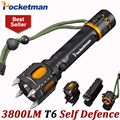 LED Flashlight 3800LM LED Torch CREE T6 Lampe Torche 5 Modes Taschenlampe Torcia Zaklamp Self Defence for 18650 Tactical ZK93