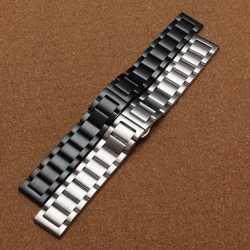 18mm 20mm 21mm 22mm New arrival Watchband High Quality Black Silver Stainless steel watch bracelets solid links matte watchbands 13mm 20mm gold silver fashion watchbands stainless steel watch band new solid links watch bands bracelets relojes hombre