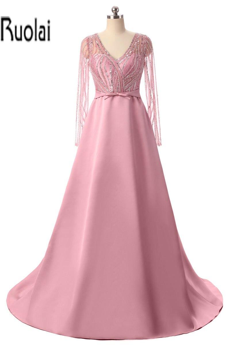2017 Потрясающие Розовый строки длинные Вечерние платья v образным вырезом Бисер лук Пояса длинные прозрачные рукава атласные вечерние плать
