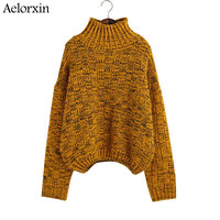 Women Pullover Sweater 2017 Turtleneck Sweaters Autumn Winter Knitted Warm Sweater Jumpers Irregular Outerwear Sueter Mujer
