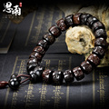 15*9mm Lightning Wood  Prayer Beads Bracelets Mantra Wooden Fish Tibetan Mala Prayer Beads Black Vintage Charms Men Jewelry