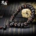 15*9mm Madeira Relâmpago Mantra Oração Contas Pulseiras Encantos Peixe De Madeira Contas de Oração Mala Tibetano Preto Do Vintage Dos Homens jóias
