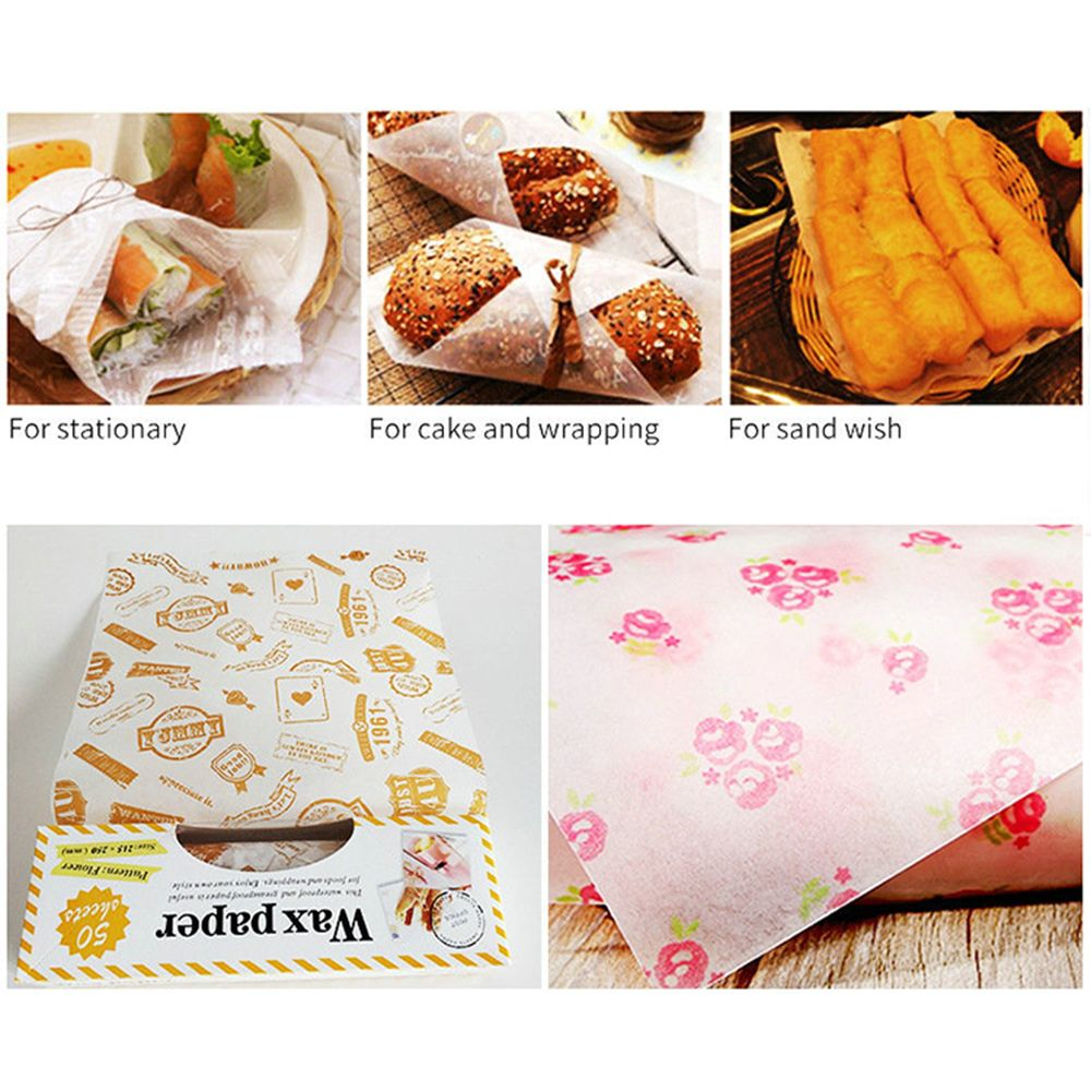 50pcs/lot KECTTIO Food Grade Grease Paper Bread/Sandwich/Burger/Fries Wrapping Paper Wax Paper DIY Pastry Baking Tools Oilpapers