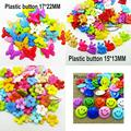 100PCS butterfly Dyed Plastic buttons decoration coat boots sewing clothes accessory smile face button garment P-188