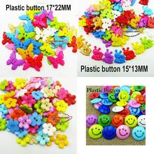 50PCS Butterfly Dyed Plastic Buttons Decoration Coat Boots Sewing Clothes Accessory Smile Face Button Garment P-188