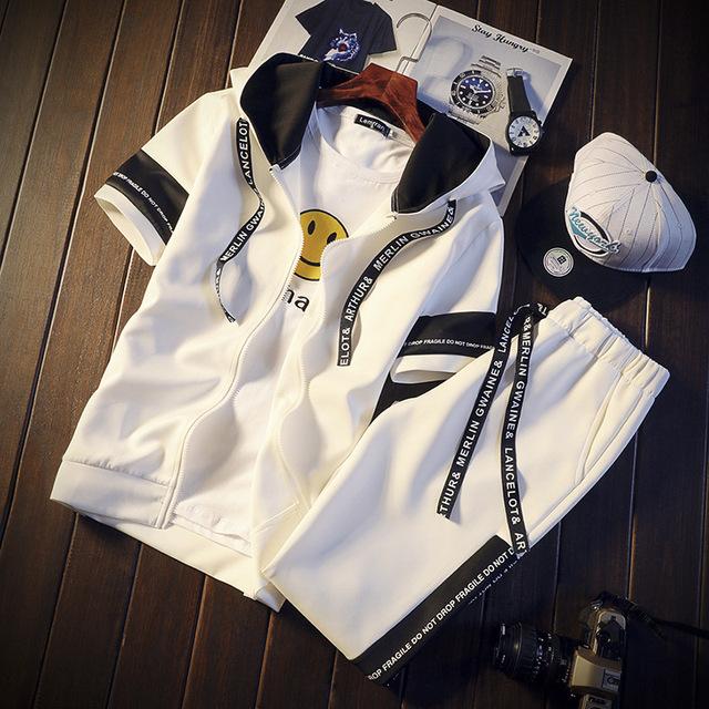 AmberHeard Summer Fashion Men Sweatsuit Set Short Sleeve Sporting Suit Hooded Sweatshirt+Shorts Tracksuit 2PC For Men Sportswear