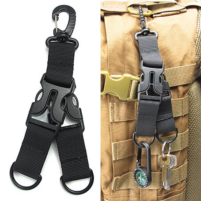 Nylon  Webbing Backpack Clips Ribbon Camping Attach Belt Clip Kit Carabiner Strap Clasp D Hanging Safe Climbing Buckle