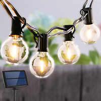 Luz Solar de jardín bombilla de guirnalda Edison luces de cuerda G40 lámpara de vidrio Retro Para exterior impermeable fiesta iluminación 5/7. 6 metros