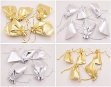 Bulk 100 PCS Jewelry Gift Bag Pouch Silver Golden Bags Pouches Choose 5X7cm 7X9cm 10X12cm