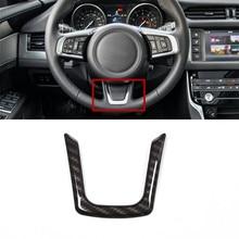 Carbon Fiber Style Car Steering Wheel U-Shape Trim Strips For Jaguar XE X760 XF X260 F-Pace X761 2016 ABS Modified Decals carbon fiber style center console gear shift panel decoration cover trim for jaguar xe x760 f pace x761 2016 18 abs modified