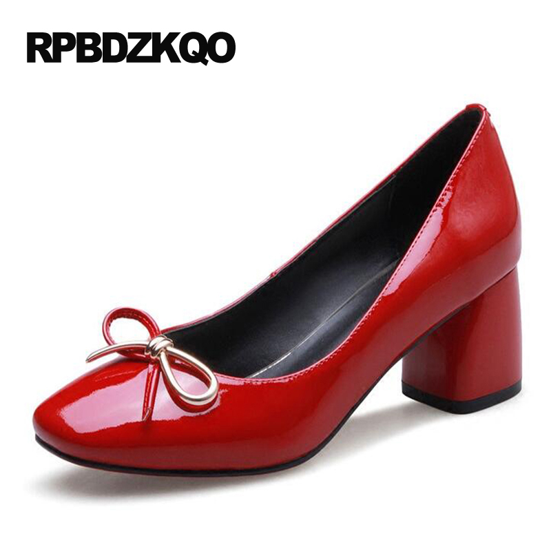2017 Patent Leather Shoes Chunky Square Toe Pumps Red Small Size Discount Genuine Ladies 4 34