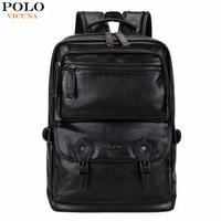 VICUNA POLO Multifunctional Leather Men Backpack Brand High Quality Big Men Leather Travel Backpack Business Laptop