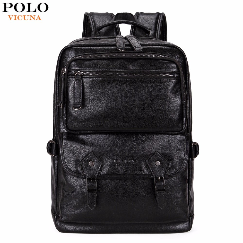 VICUNA POLO Multifunctional Leather Men Backpack Brand High Quality Big Men Leather Travel Backpack Business Laptop Backpack Hot s c cotton brand backpack men good quality genuine leather