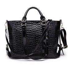 Le nouveau grain de crocodile femelle sac en cuir verni en cuir sac d'ordinateur portable air sac d'épaule oblique paquet de femme
