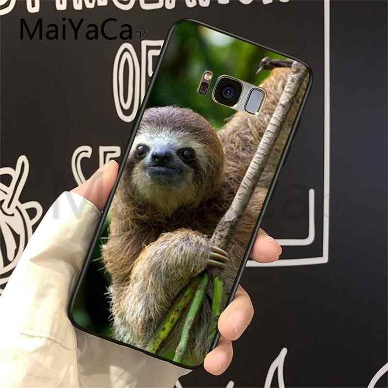 MaiYaCa حالة ل غالاكسي S9 لطيف جميل الحيوان الكسل شريط تصميم الهاتف حالة لسامسونج غالاكسي S6 حافة زائد S7 حافة زائد