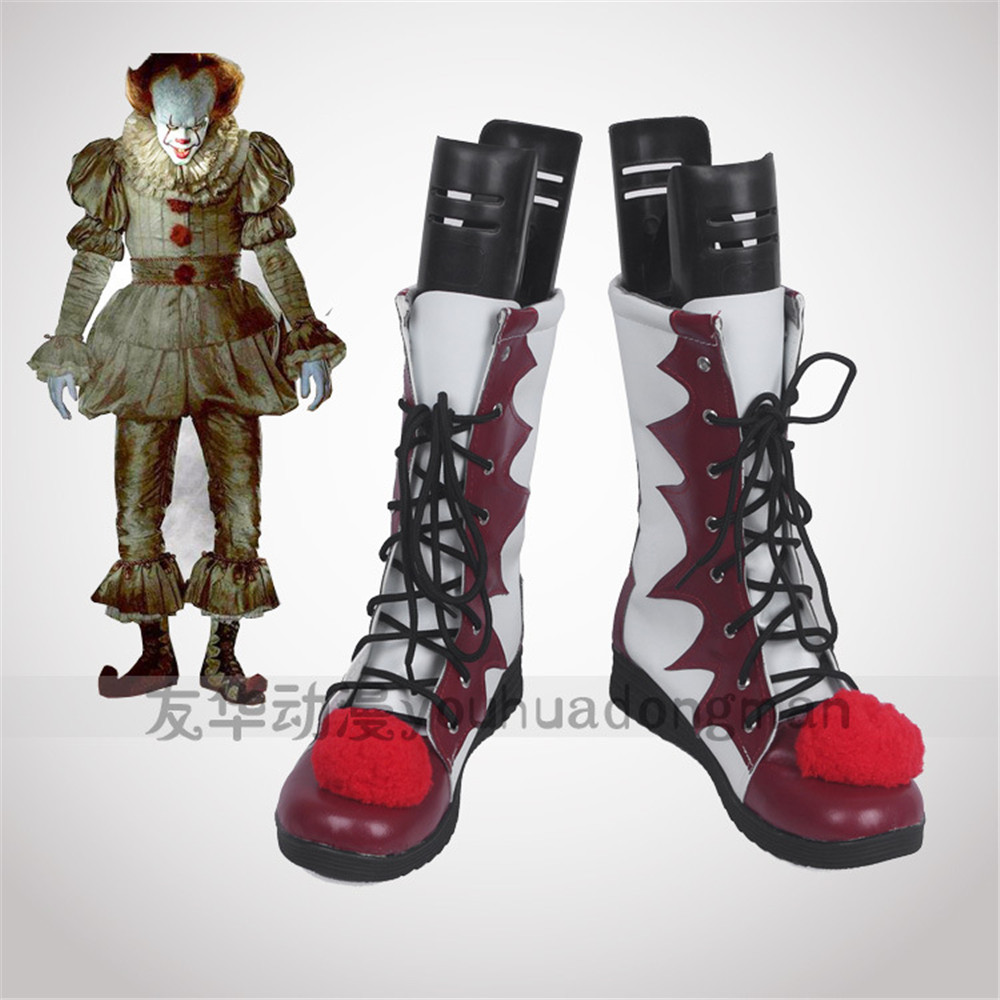 Halloween stephen king's it pennywise Clown pennywise le costume de clown hommes femmes Cosplay Costumes bottes chaussures sur mesure
