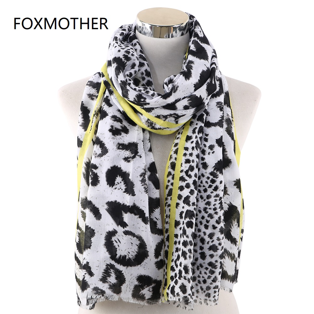 FOXMOTHER Spring Leopard Scarf Women Neon Yellow Pink Color Animal Print Shawl Pashmina Beach Scarfs Wraps Foulard Femme