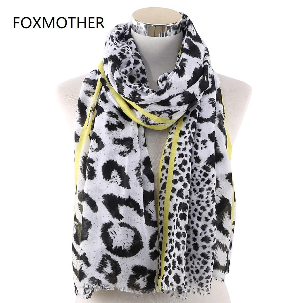 FOXMOTHER Spring Leopard   Scarf   Women Neon Yellow Pink Color Animal Print Shawl Pashmina Beach Scarfs   Wraps   Foulard Femme