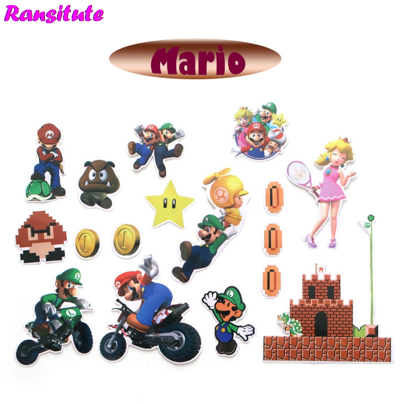 R176 29pcs/set Mario PVC Waterproof Fun Sticker Toy Luggage Sticker Motorcycle And Suitcase Notebook Sticker