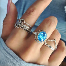 New friendly alloy inlaid Ble Gem Stone Princess Letters heart-shaped Crown 6-piece ring Set Women fashion jewelry wholesale(China)