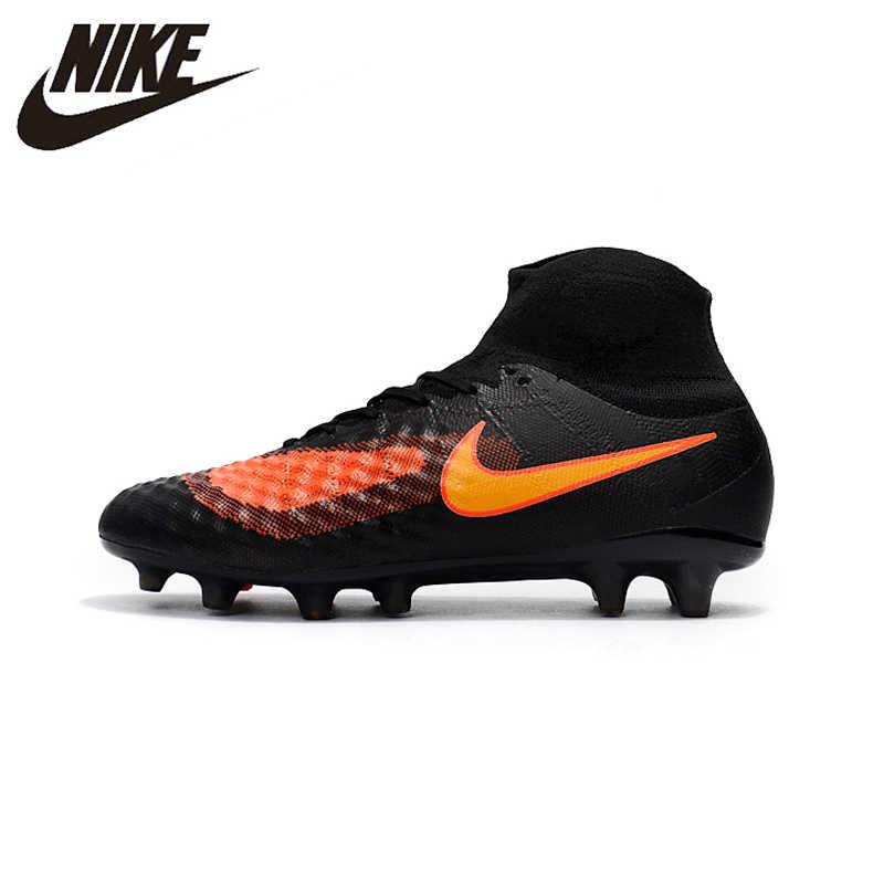 cheaper a85a5 e6dcf Nike Magista obra II FG Sneakers Soccer Shoes Black Orange Outdoor Lawn  High Quality Men Football
