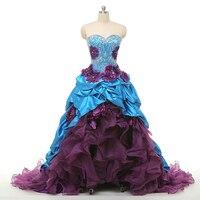 Королевский синий бордовый золотой Кружева Пышное Бальное Платье 2018 Vestidos de 15 Anos аппликация Паффи Сладкий 16 платье для выпускного вечера мус