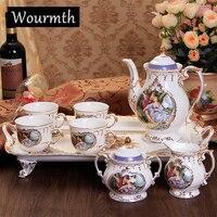 Wourmth 8 шт. эмаль фарфора Павлин Кофе комплект старший Европейский Стиль костяного фарфора чайный сервиз для Новый год подарок