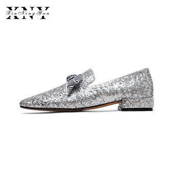 XIUNINGYAN 2019 Summer Dress Shoes Woman Slip-On Platform Flats Female Breathable Zapatillas Slipony Women Bling Cloth Shoes