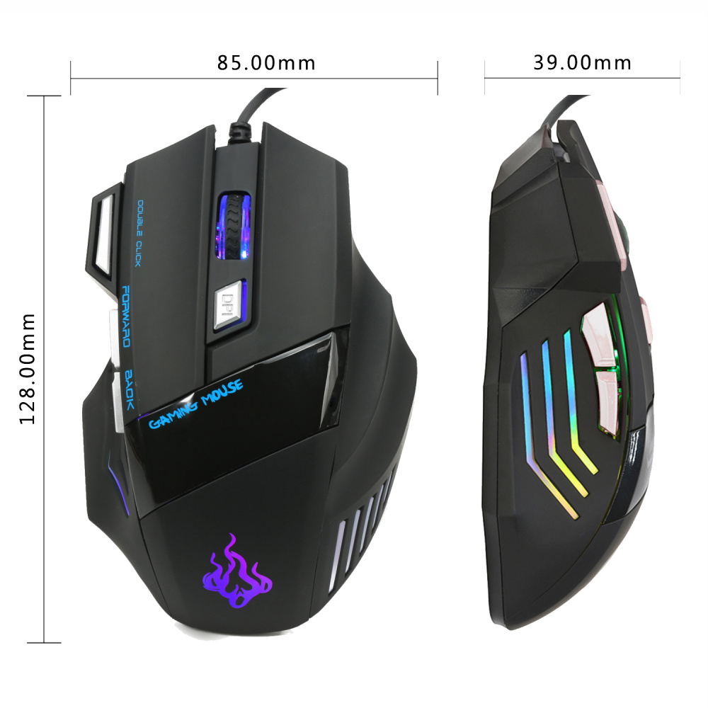 Image 3 - HXSJ A908 5500 DPI 7 Buttons Colorful Light Emitting Professional Optical Mechanical Wired Gaming Cable Mouse Mice-in Mice from Computer & Office