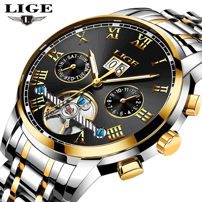 Watches Men <font><b>LIGE</b></font> Top Brand Luxury Men's Sports Waterproof mechanical Watch Man Full Steel Military Automatic Wristwatch Relojes image