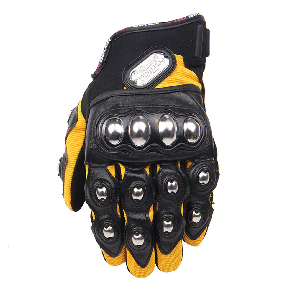 Motorcycle gloves metal - Motorcycle Riding Gloves Men Women Breathable Full Finger Metal Protection Gloves Cycling Motorbike Street Racing Gloves