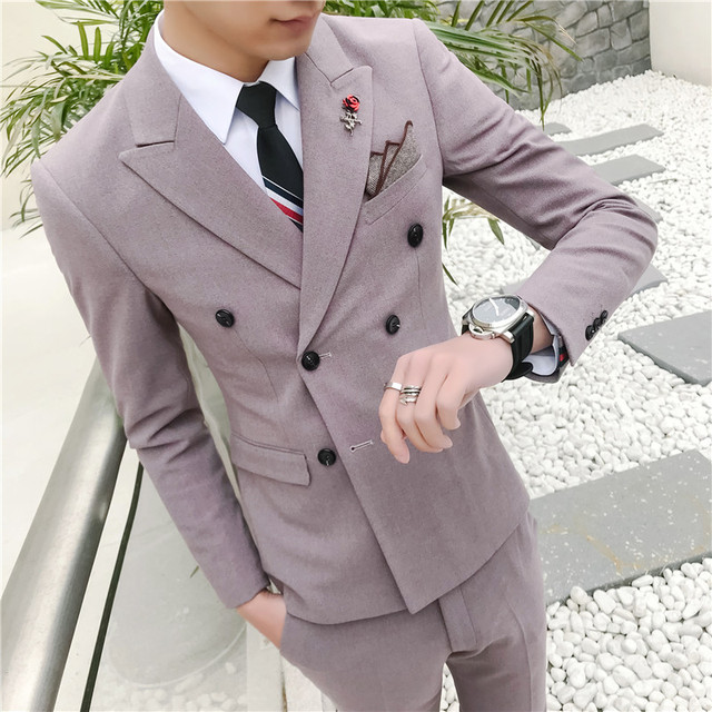 575c638e26e US $68.31 39% OFF|2019 Spring New Korean Version of The Slim Straight Smart  Casual Skinny Cotton Suit High Quality Suits (1 Jacket + 1 Pants)-in Suits  ...