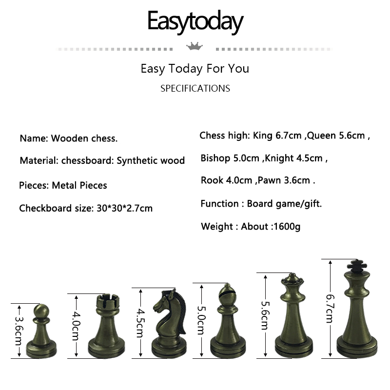 Easytoday International Chess Wooden Games Set Metal Chess Pieces Solid Wood Chess Board Entertainment Table Game Gift 1