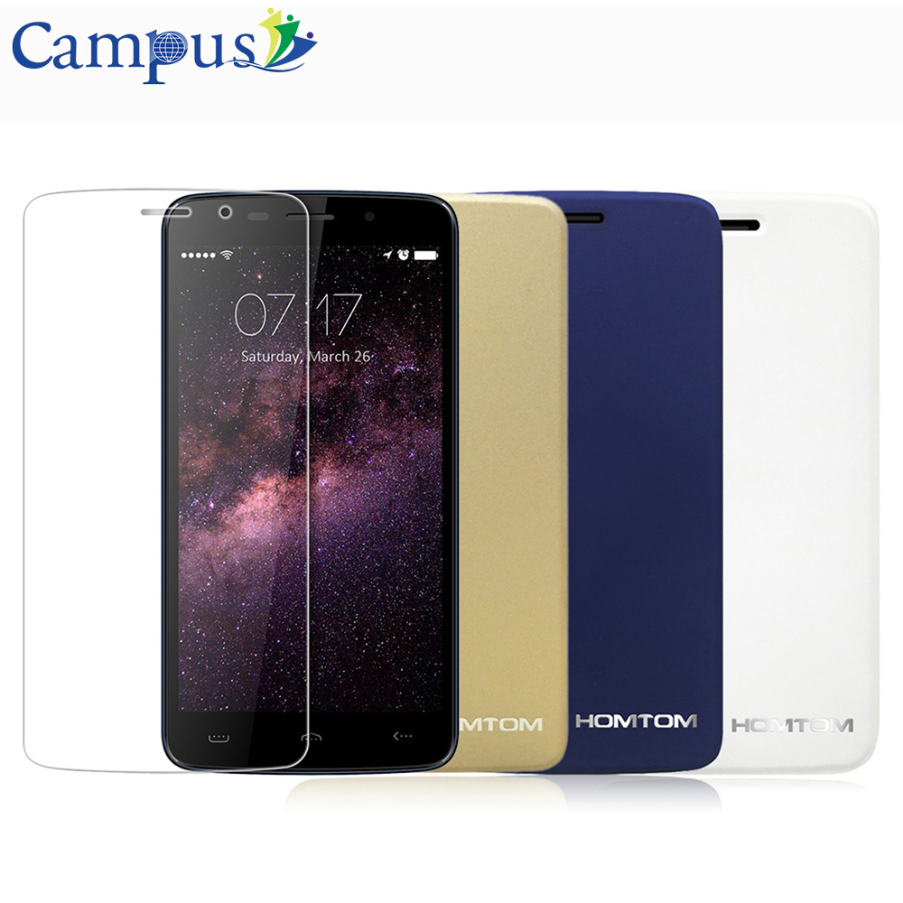 HOMTOM HT17 HT17 Pro Case 100 Original Leather Case Protective Cover Tempered Glass Film For HT17