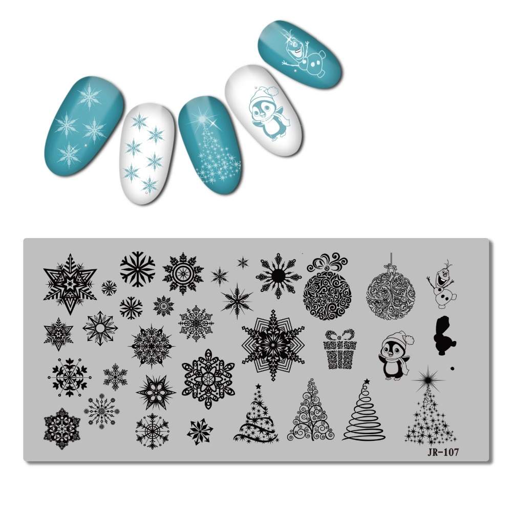 Image 2 - 2018 Stainless Steel Stamping Plate Template Xmas Christmas Snow Tea Cup Mandala Red Wine Flower Love Easter Nail Tool JR101 110-in Nail Art Templates from Beauty & Health