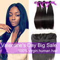 7A Lace Frontal Closure With Bundles Brazilian Virgin Hair Straight With Closure Human Hair Lace Frontal Bundles Weave