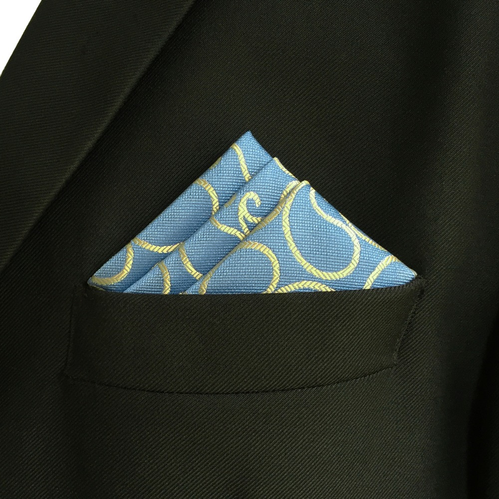 EH9 Paisley Blue Yellow Pocket Square Wedding Silk Handkerchief Hanky