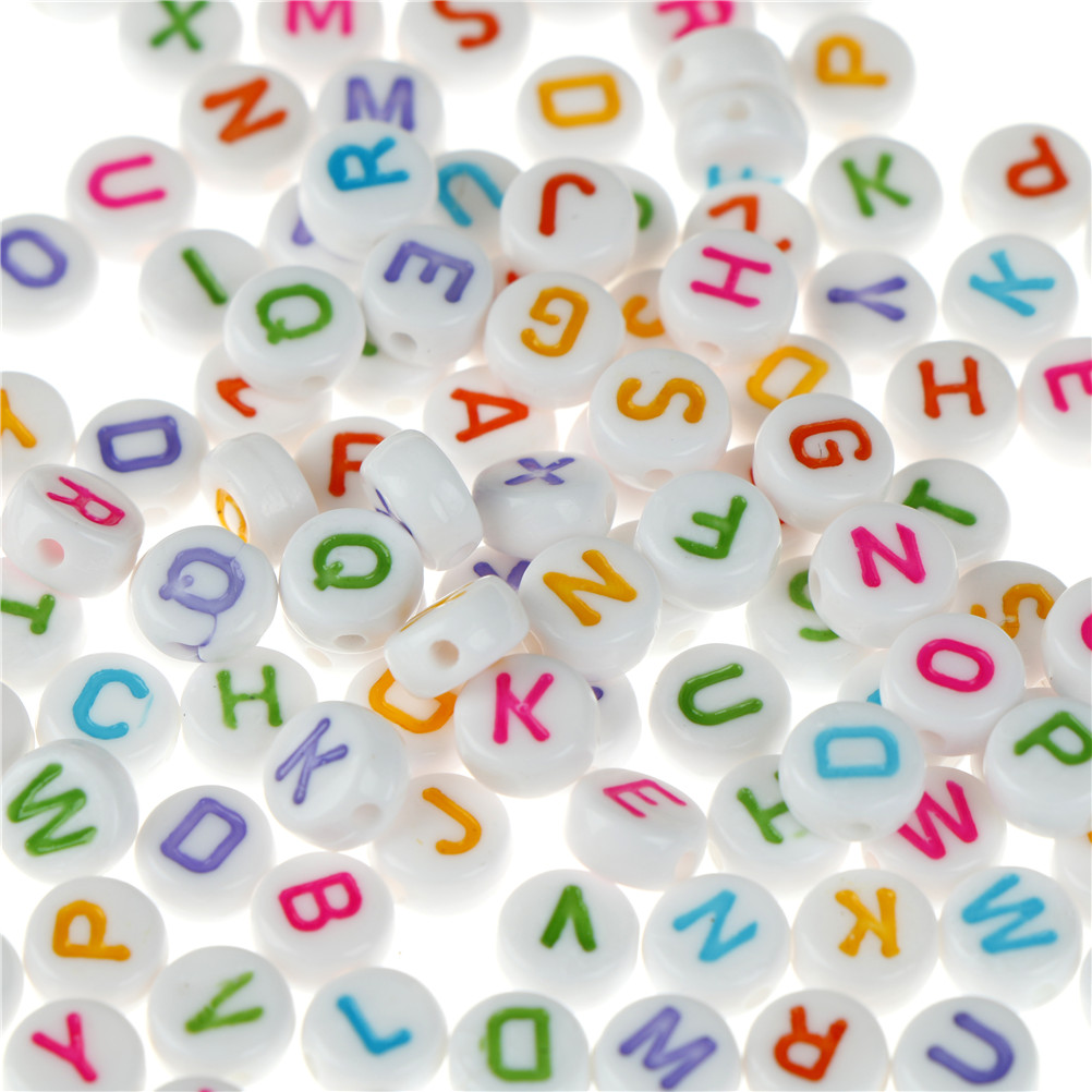 Aggressive For Diy 100pcs/set Colorful Alphabet Letter Acrylic Flat Round Spacer Beads English Letter Beads Home & Garden Arts,crafts & Sewing