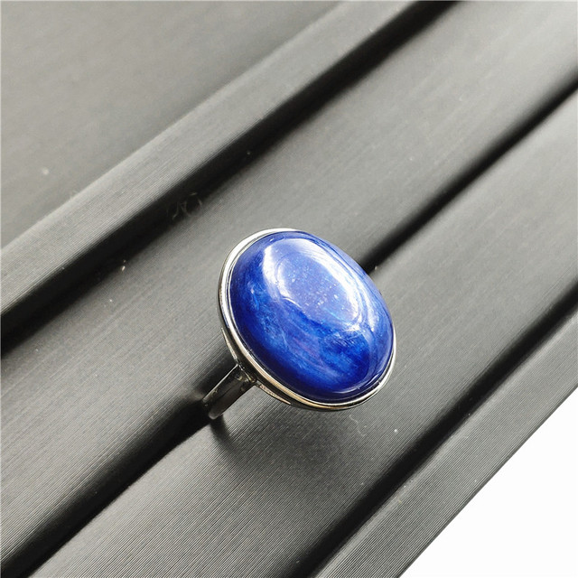 Natural Kyanite Ring Blue Cat Eye Healing Stone Oval Shape Anniversary Party AAAAA 16x14mm Woman Jewelry Luxury Adjustable Ring