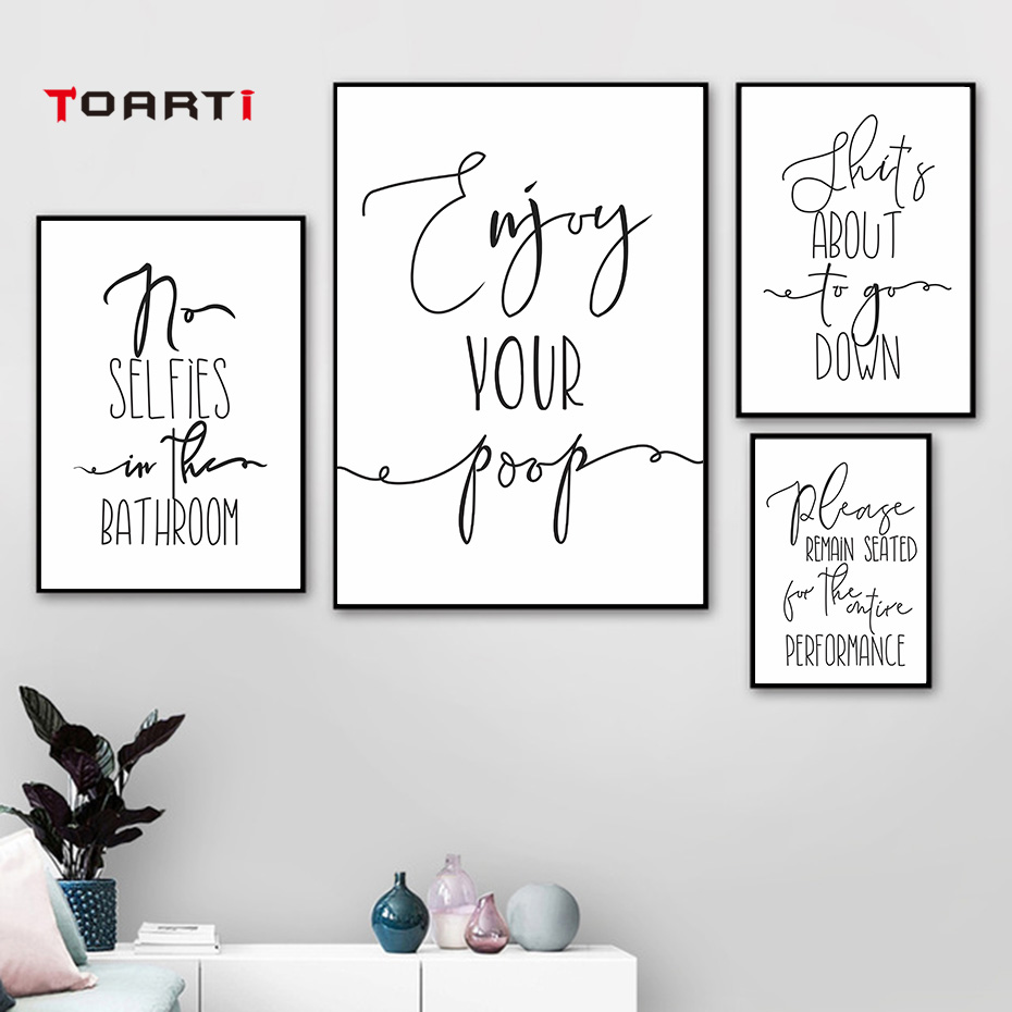 Funny Quotes Calligraphy Wall Art Modern Pictures Line Drawing Vintage Posters Nordic Prints Bathroom Decoration Canvas Painting