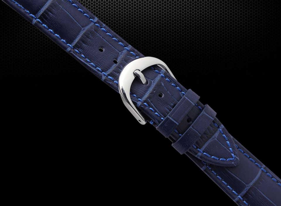 Ремешок для часов 12 мм 14 мм 16 мм 18 мм 20 мм 22 мм Мужские Женские темно-синие 100% из натуральной крокодиловой кожи ремешок для часов браслеты