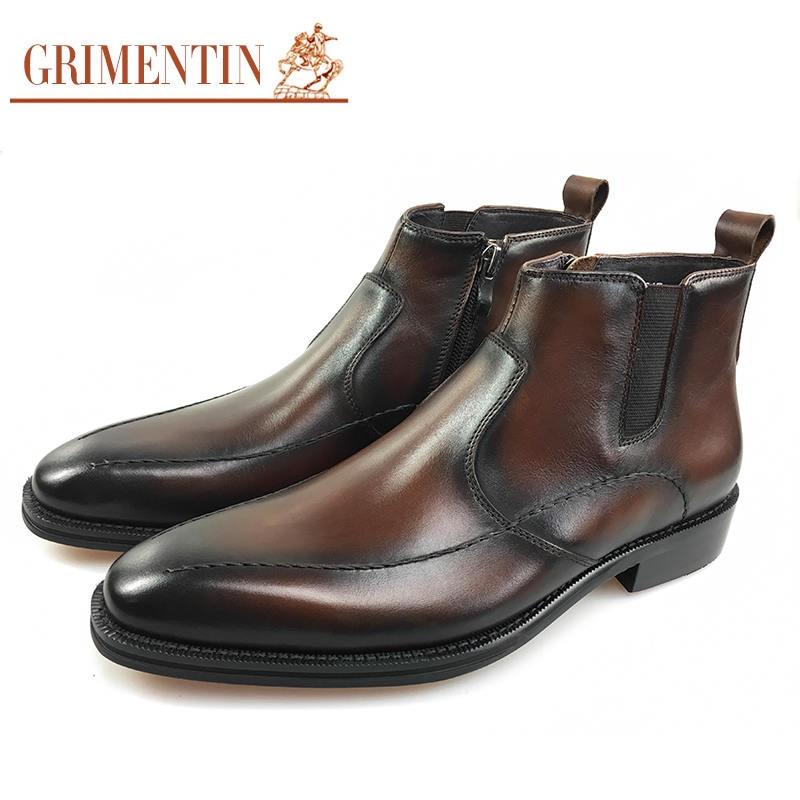 US $149.0 |Italienische luxus vintage herren stiefel aus echtem leder handgemachte braun schwarz männlichen kleid stiefeletten für männer schuhe in