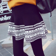 female solid Thickening legging skirt winter plus velvet lady faux two piece culottes thermal elastic boot